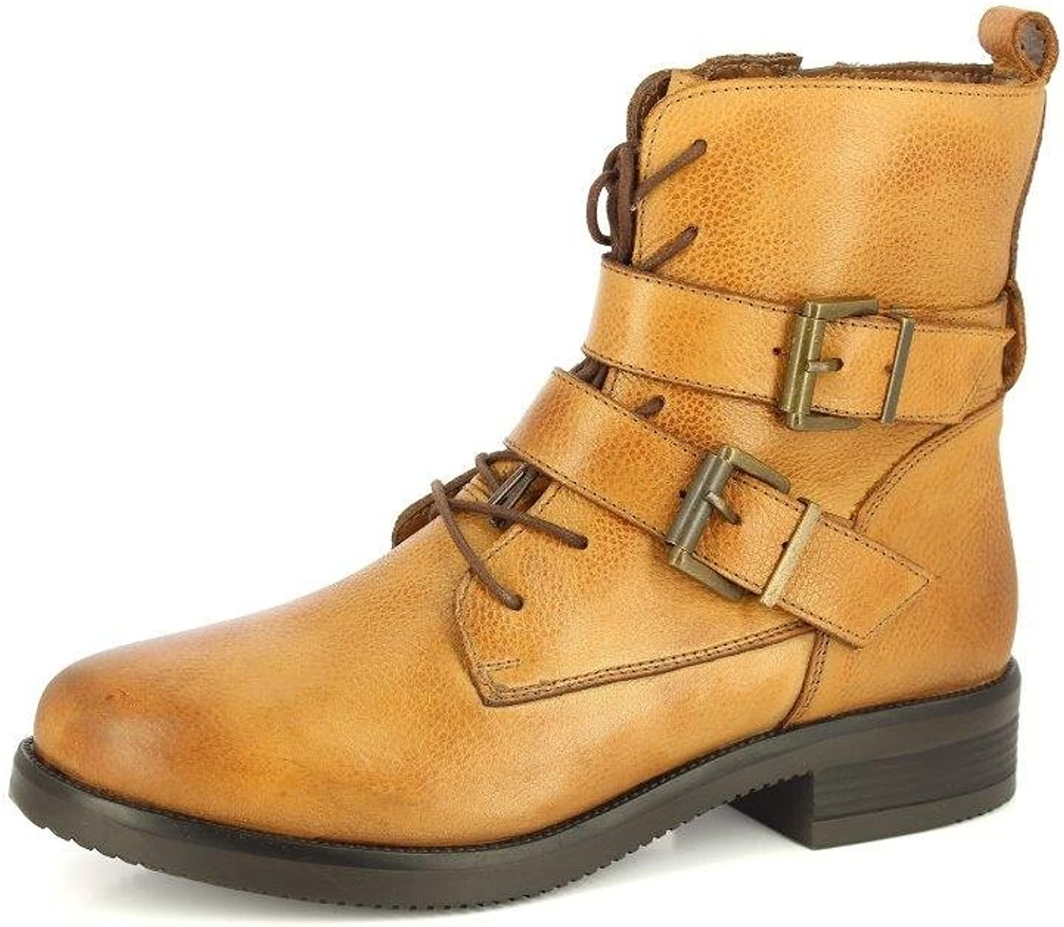 ALBERTO TORRESI Women's Leather Boots Double Buckle Strap Stacked Ankle Bootsie