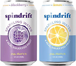 Spindrift Sparkling Water, Variety Pack, Blackberry & Lemon, Made with Real Squeezed Fruit, 12 Fl Oz Cans, Pack of 48