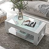 adawd Mesa de centro para salón con tablero de cristal, cajones y espacio de almacenamiento (blanco + aglomerado).