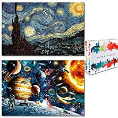 🌈[2-IN-1 & 2000PCS JIGSAW PUZZLES SET] The jigsaw puzzles for adults are include 2000pc puzzle in two dust-free plastic bags.Starry Night Jigsaw Puzzle and Space Scene Jigsaw Puzzle each 1000pc.We enjoy a good challenge,are able to complete it with c...
