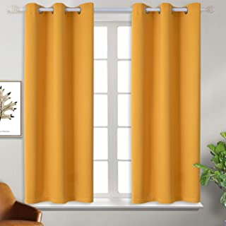 BGment Blackout Curtains - Grommet Thermal Insulated Room Darkening Bedroom and Living Room Curtains, Set of 2 Panels (38 x 45 Inch, Mustard Yellow)
