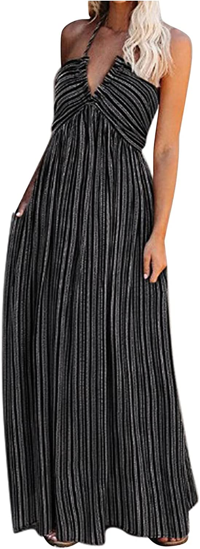 Hemlock Women Sexy Halter Dress Sleeveless Long Maxi Dress V Nec