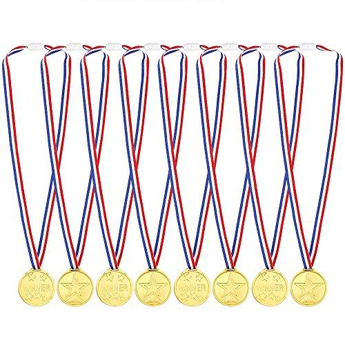 Pllieay 12 Stücke Gold Medaillen Kunststoff Gold Gewinner Medaillen für Kinder Sport Party, Wettbewerb, Preise