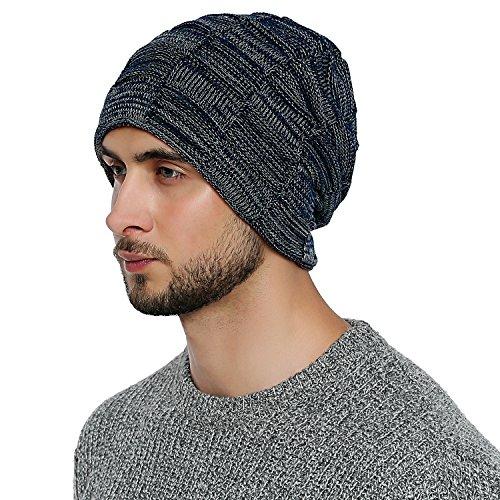 DonDon Herren Winter long Beanie sehr warme und weiche Mütze mit Teddyfleece nachtblau weiß