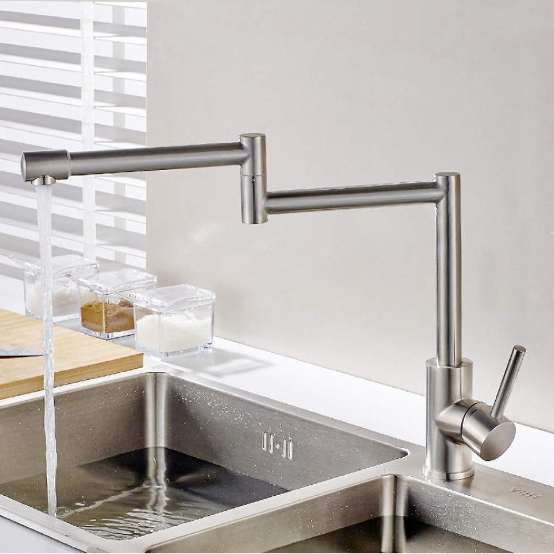 Lddpl Tap 304 Stainless Steel Kitchen Sink Taps 360 Degree redatable Nickel Kitchen Faucet Folding Single Handle Mixer Tap Faucet