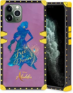 DISNEY COLLECTION Square Case Compatible iPhone 11 Pro Max 6.5 Inch Aladdin Jasmine Princess Elegant Soft TPU Full Body Shockproof Protective Case Metal Decoration Corner Back Cover