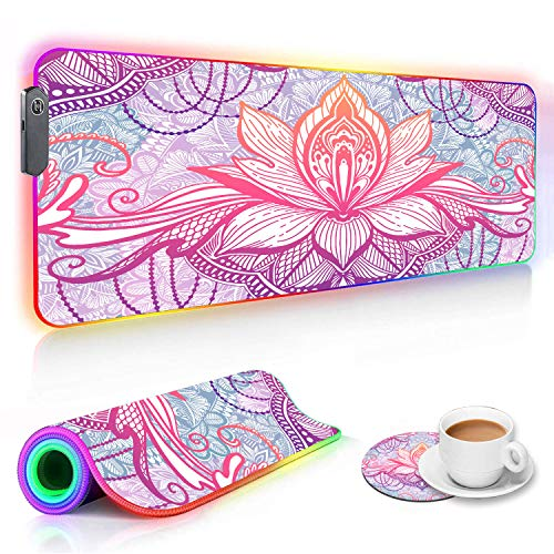 RGB Gaming Mouse Pad and Coffee Coaster, XXL Large Glowing LED Mousepad, Anti-Slip Rubber Base, Computer Keyboard Desk Mouse Mat 31.5 X 11.8 Inch - Colorful Boho Flowers