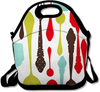 Insulated Lunch Bag for Women Men Adult Cooking Orange Pattern Food Drink Red Dining Silverware Abstract Bistro Cafe Reusable Lunch Tote for Office Work