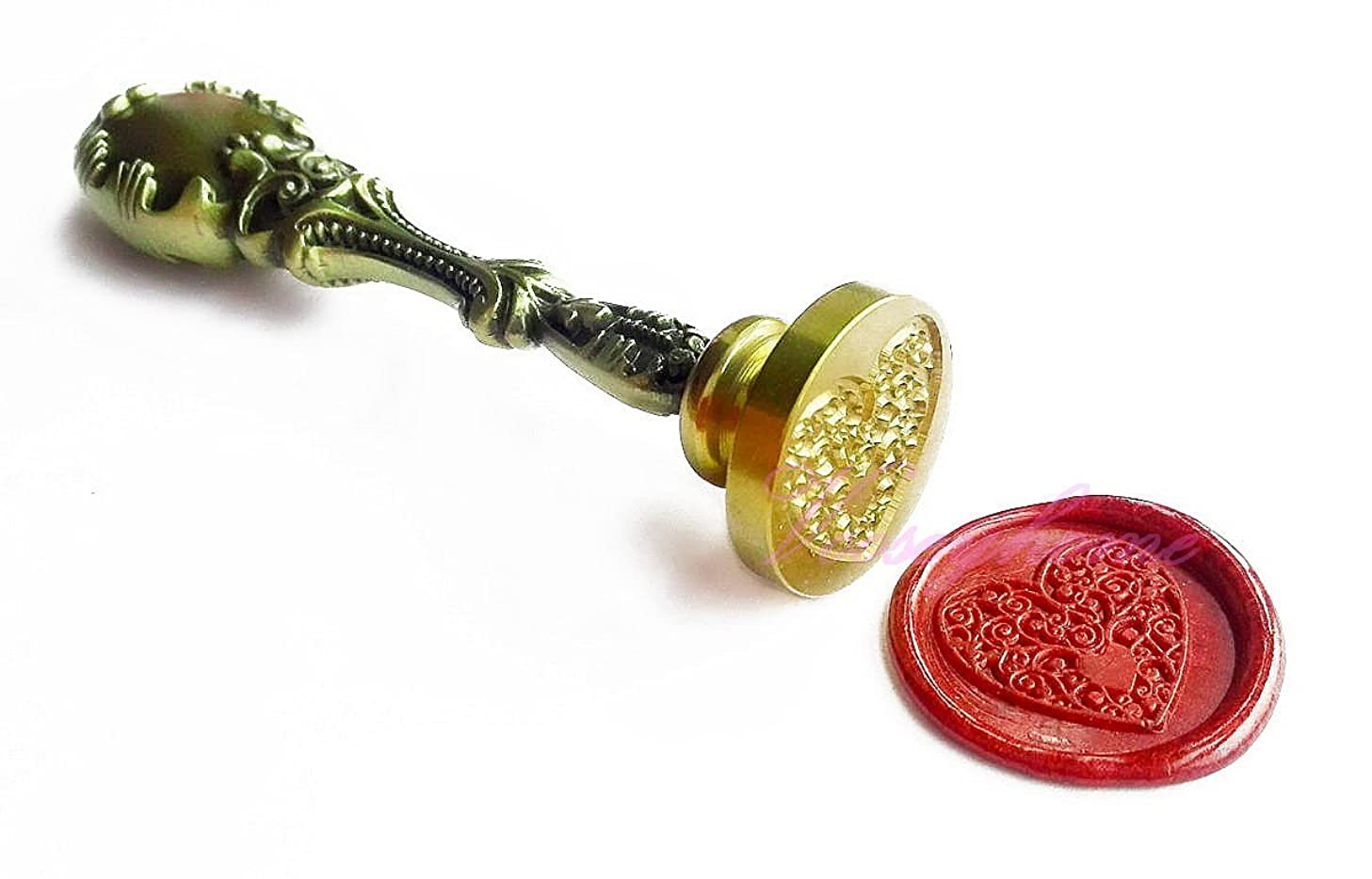 Vooseyhome The Heart Wax Seal Stamp with Vintage Brass Metal Handle - Ideal Decoration on Gift Packing, Birthday Parties, Wedding Invitations, Envelope Sealers, Letters, Posters, etc