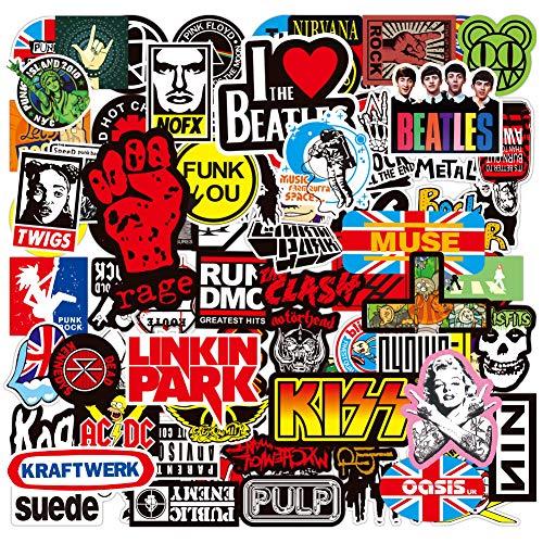 PRETTYSUNSHINE 100 Stücke Rock Band Punk Aufkleber Sticker Wasserdicht Vinyl Sticker Pack für Skateboard Snowboard Koffer Laptop PS4 Xbox One Phone Auto Helm Motorrad Fahrrad Ordner, Graffiti Sticker