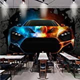 WH-PORP Benutzerdefinierte Fototapete 3D Stereo Tapete Bar Ktv Coole Auto gebrochene Wand Custom Tapete Lobby Büro Wohnzimmer Wandbild-128cmX100cm