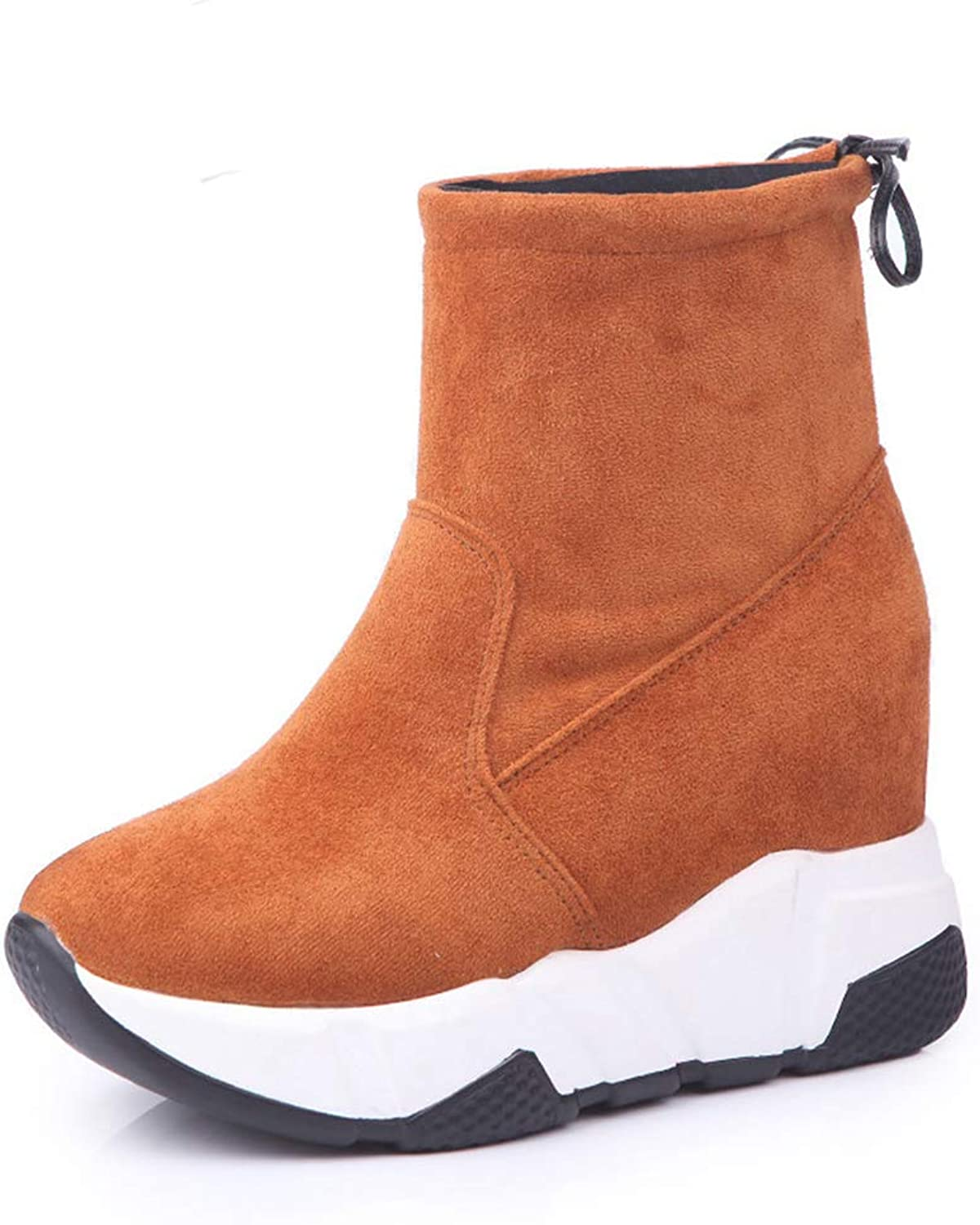 LVYING Womens Suede Warm Winter Ankle Snow Boots Casual Increase Insole Round Toe Plarform Boots