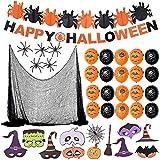 Fabu 36pz Decoracion Halloween Casa, Cortina de Tela de Araña y Telaraña Estirable y Araña Falsa...