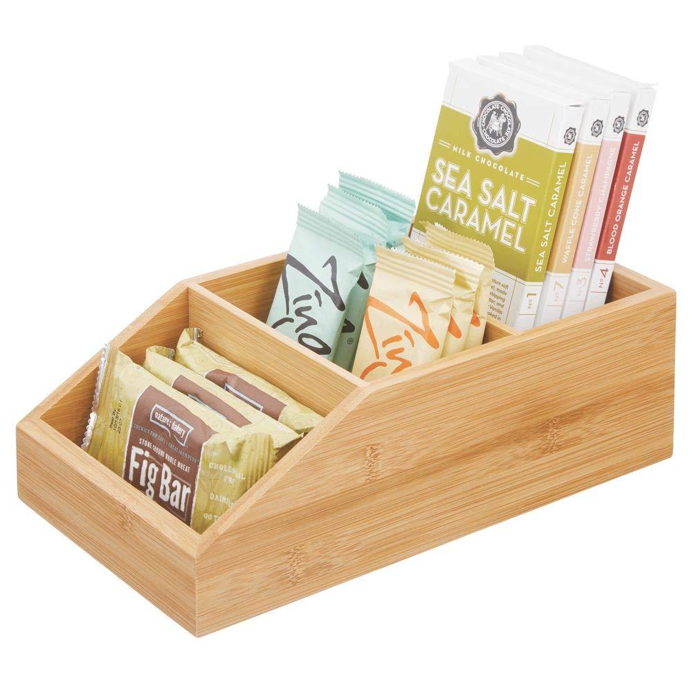 mDesign Caja organizadora grande en madera de bambú para cocina y despensa – Organizador de cocina con diseño abierto – Caja de madera ecológica para alimentos de todo tipo – color bambú: