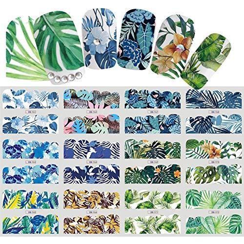 Dragonaur 1 Bogen Aufkleber mit 12 Designs, Blumen-Muster, Nagel-Aufkleber, Wasser-Transfer, Aufkleber für Nagelkunst, Maniküre-Zubehör