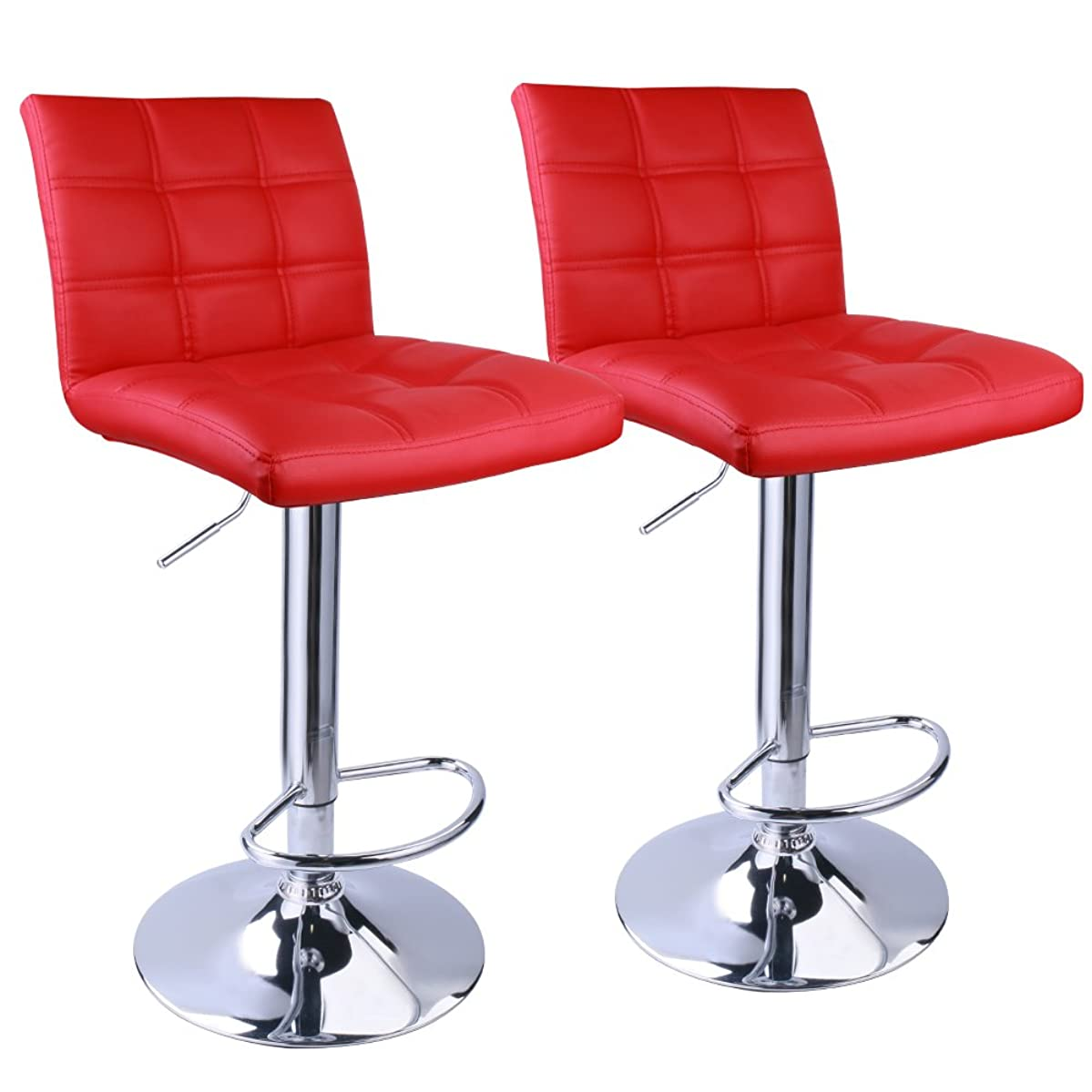Leopard Adjustable Bar Stools Square Back, Leather Padded with Back, Set of 2 (Red)