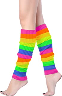 V28 Women Juniors 80s Eighty's Ribbed Leg Warmers for Party Sports (Z46-Mix13)