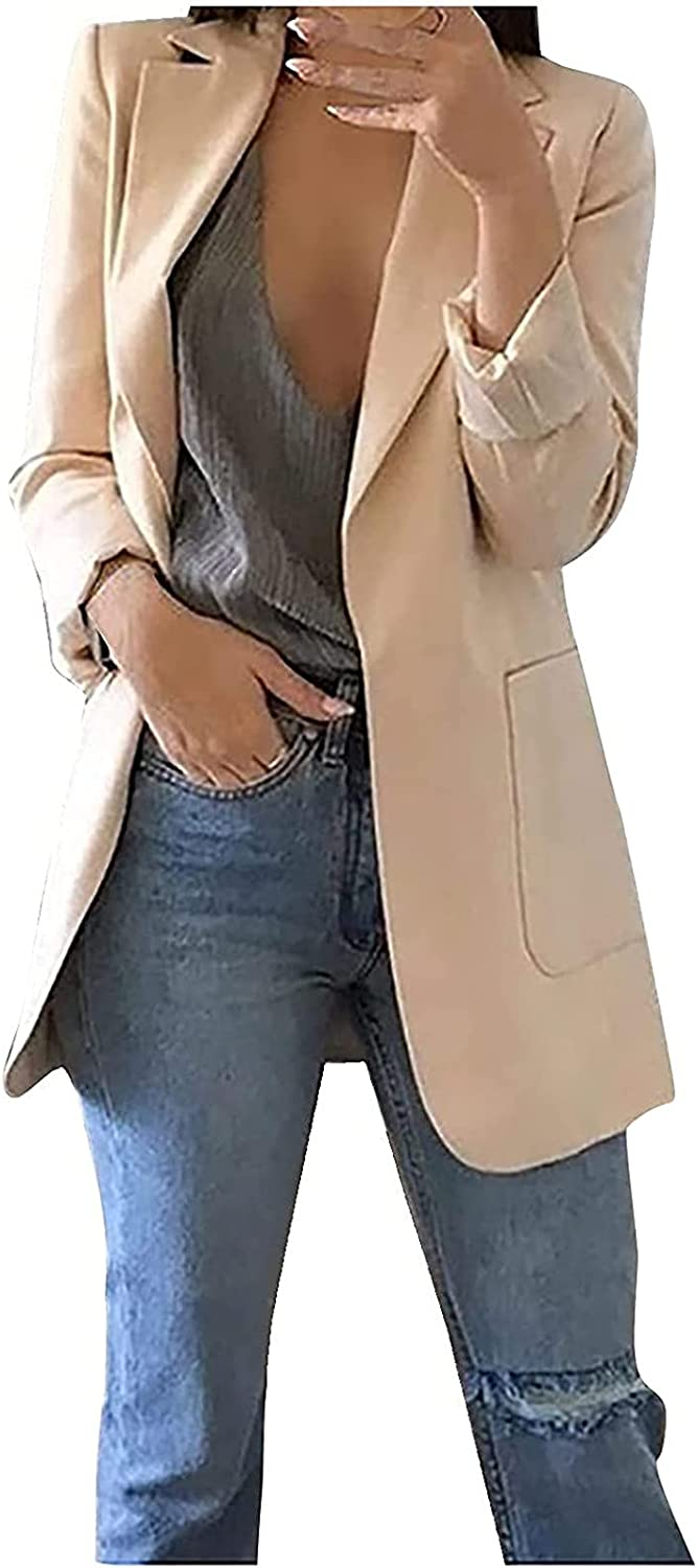 Kanzd Women's Blazers Jackets Stretchy Casual Blazers Open Front Long Sleeve Office Coat Cardigans Suit Long Jacket Tops