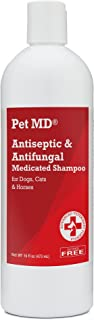 Pet MD Antiseptic and Antifungal Medicated Shampoo for Dogs, Cats and Horses with Chlorhexidine and Ketoconazole - Soap and Paraben Free - 16 Oz