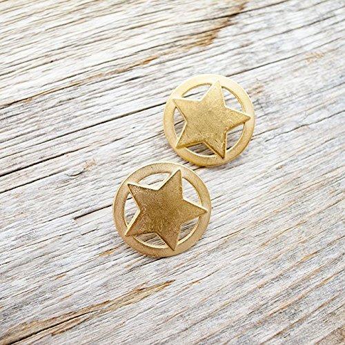 【星コンチョボタン(スターボタン)】メタルボタン #C634 1穴 21mm C/#LHG ゴールド 2個セット