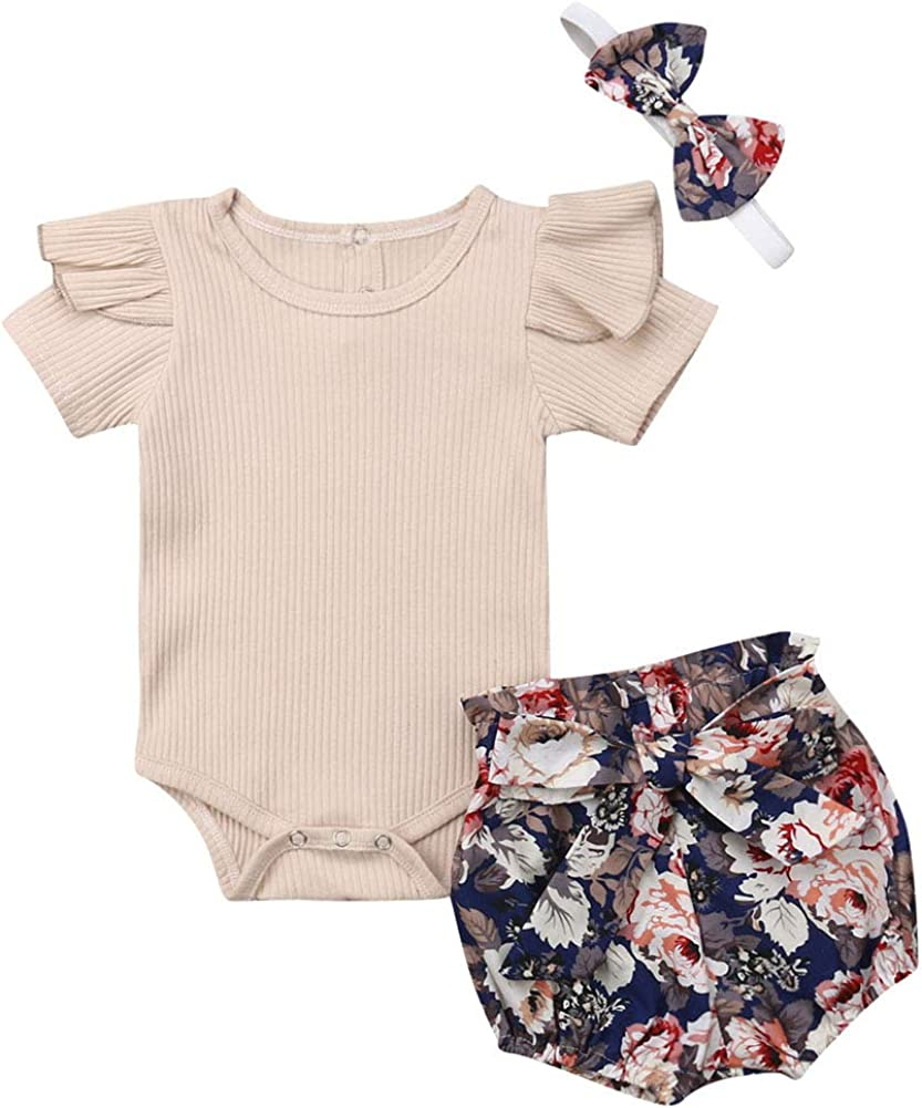 Newborn Baby Girls Cotton Short Sleeve Ruffle Bodysuit and Floral Shorts Headband Outfit Summer Clothes Set