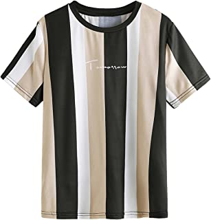 SOLY HUX Boy's Letter Print Striped Short Sleeve T Shirt Colorblock Tee Top