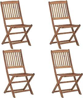 Silla de Comedor Madera Acacia, Juego de 4 Sillas Plegables de Jardín Exterior Conjunto de Muebles para Jardín, Terraza o Patio 48,5 x 57 x 91 cm
