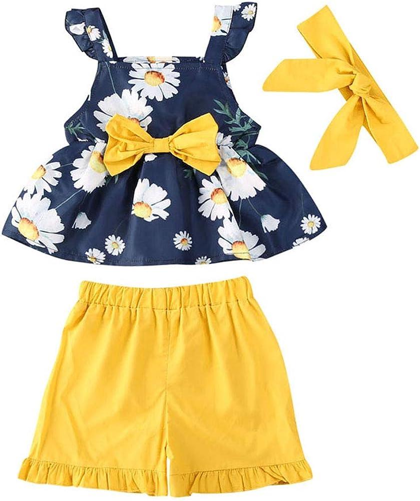 Toddler Direct store Baby Girls 3PCs Floral Set Ruffle Bow Sleeveless Shorts Fashionable
