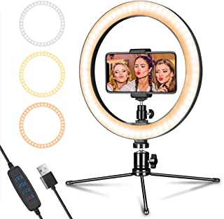 "LED Ring Light 10"" with Tripod Stand & Phone Holder for Live Streaming & YouTube Video, Dimmable Desk Makeup Ring Light for Photography, Shooting with 3 Light Modes & 10 Brightness Level"