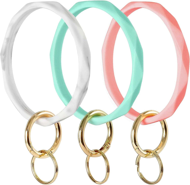 Heesch Silicone Key Ring Bracelet Wristlet Keychain for Women Girls Gift Wristlet Round Keyring Bangle