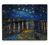 アートパネル ゴッホ『ローヌ川の星月夜』 抽象画シリーズ ポスターフレーム キャンバス 壁掛け絵画 壁飾り(木枠付きのセットですが 軽くて取り付けやすい)