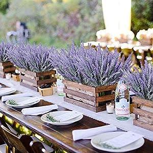 8 bundles artificial flowers fake lavender plant artificial lavender bouquet faux flocked plastic flowers wedding bridle bouquet indoor outdoor home kitchen office table décor (purple lavender/8pcs) silk flower arrangements
