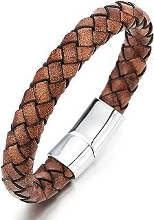 Minimalist Brown Braided Leather Bracelet for Men Women Genuine Leather Bangle Wristband