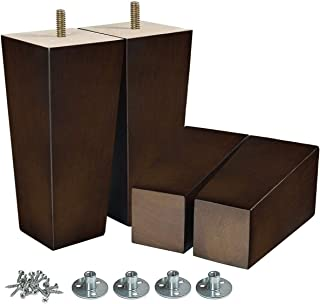 AORYVIC 6 inch Sofa Legs Wood Furniture Legs Pack of 4 Pyramid Couch Legs Mid-Century Modern Brown Replacement Legs for Chair Recliner