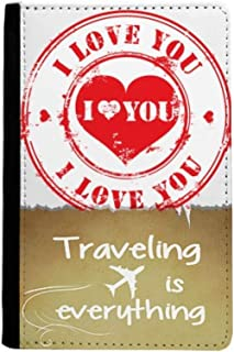 Postmark Valentine's Day Red Love You Traveling quato Passport Holder Travel Wallet Cover Case Card Purse