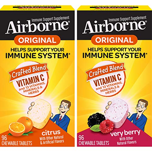 Vitamin C 1000mg - Airborne Berry Chewable Tablets, Immune Support Supplement and Vitamin C 1000mg - Airborne Citrus Chewable Tablets, 96 Count