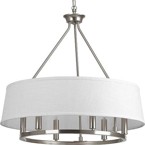 popular Cherish Collection high quality 6-Light White online Linen Shade Coastal Chandelier Light Brushed Nickel online sale