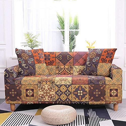 Estiramiento Funda de sofá 3 Plazas 1 Pieza Antideslizante Fundas Impresa para Sofas Sofás Cubre Sofá Ajustable Protector de Muebles 2 Fundas de Almohada Flor De Patrón A Cuadros