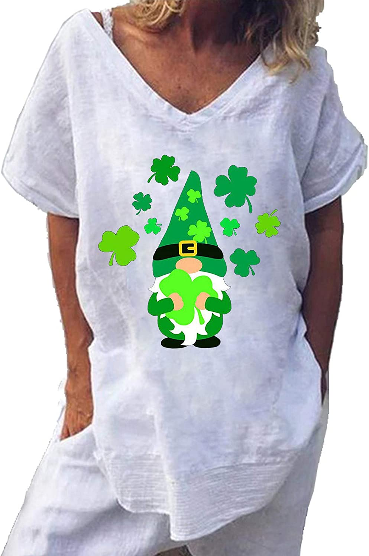 YUehswet Womens Short Sleeve Tops,Womens St. Patricks Day Shirt Cute Gnomes Shamrock Print T-Shirts Short Sleeve Graphic Tees