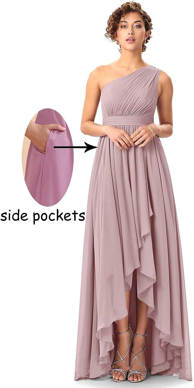 PAVERJER Women's One Shoulder Wrap Slit Bridesmaid Dress High Low Prom Dresses Graduation Formal Gown with Pockets