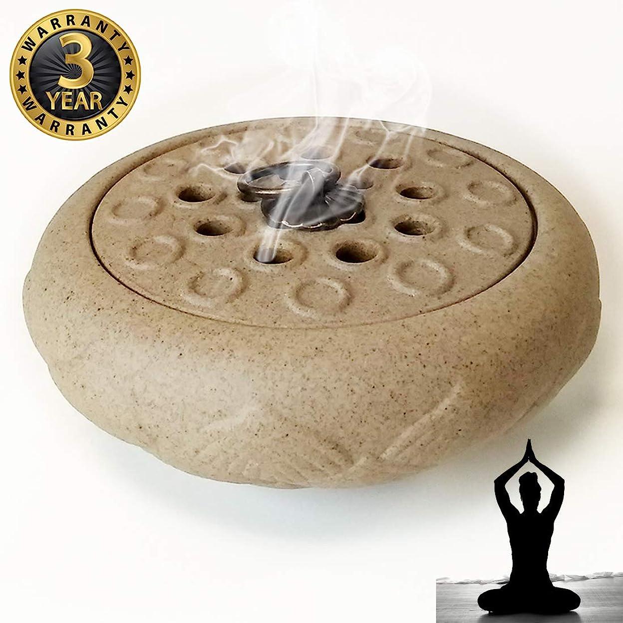 一節言い訳コントローラWOW 陶器製香炉ホルダー 手作り スティック/コーン/コイル線香に最適 ホワイト