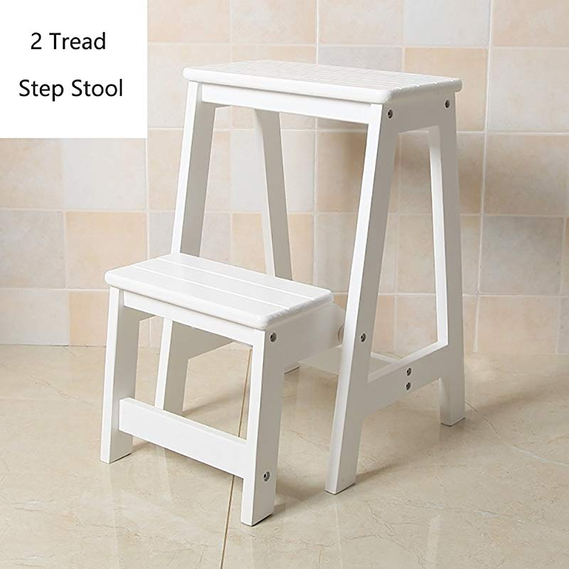 Wood 2 Step Stool For Adults Kids Indoor Folding Stepladder Kitchen Wooden Ladders Small Foot Stools Portable Shoe Bench Flower Rack Color White