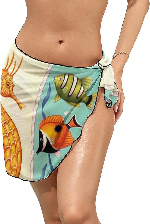 JINJUELS Women's Beach Sarongs Bikini Cover Ups Seahorse and Fish Sheer Swimwear Short Skirt
