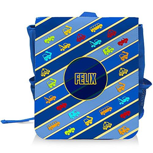 Kinder-Rucksack mit Namen Felix und schönem Motiv mit Autos und Fahrzeugen für Jungen
