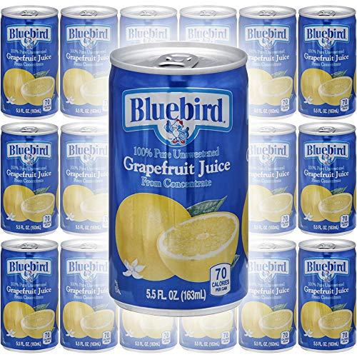 Bluebird Grapefruit Juice, Pure Unsweetened, From Concentrate, 5.5oz Mini Can (Pack of 18, Total of 99 Fl Oz)