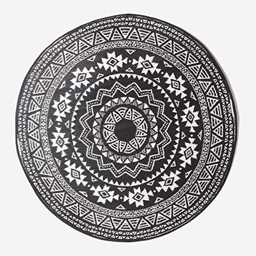 HOMESCAPES Tapis d'extérieur Rond àMotif géométrique Noir, Ø 180 cm