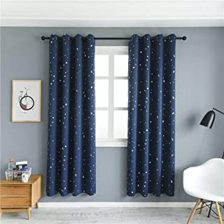 MANGATA CASA 2 Panels Blackout Curtains with Night Sky Twinkle Star for Kids Room, Thermal Insulated Grommet Bedroom Drapes(Navy,52x63in)