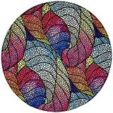Mouse Pad, Round Colorful Leaves Mousepad, Small Non-Slip Rubber Circular Mouse Mat with Stitched Edges, Cute Girls Mouse Pad Desktop Accessories for Office, Travel and Gaming, 7.9 x 7.9 Inch