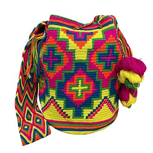Ancdream kolumbianische Handtaschen, Mochila Wayuu, 100% original kolumbianische handgefertigte Eimertasche aus Baumwolle