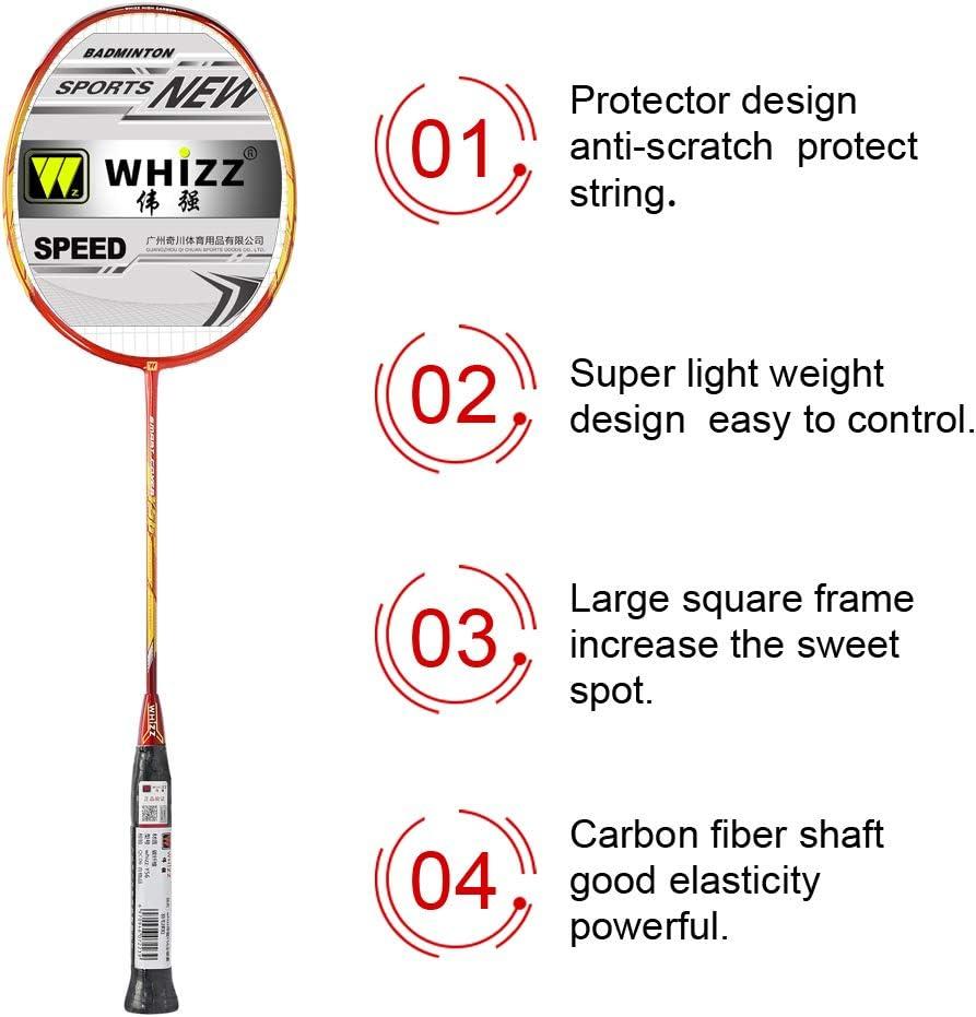 WHIZZ Anti Scratch Series Full Carbon Badminton Racket Double Racket Suit Adult Durable Ultra-Light Carbon Fiber Badminton Racket /…